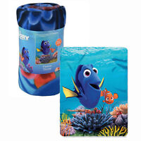 "Disney Blanket Fleece Throw 45""x60"" Finding Dory Nemo Blue Ocean Coral Reef NEW"