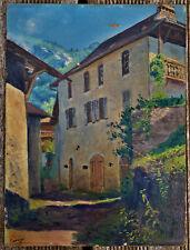 ancien tableau paysage de montagne alpes signé Henri Thomasset 1930