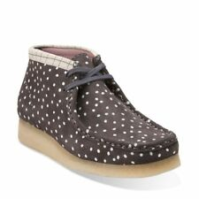 Clarks Originals Womens ** Wallabee Boots / Grey - White Lea  ** UK 4,4.5,5 D