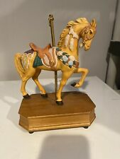 Summit Collection Exclusive 1992 -Tan Horse Carousel Music Box - Lara's Theme