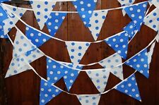 BLU bianco a pois Partito Bunting 5 MT 19 bandiere Baby Shower, TORTA Smash, matrimoni