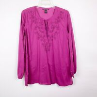 Lucky Brand Purple Embroidered Tunic Cotton Made in India Long Sleeve Size XL