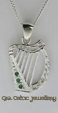 Argent sterling 925 harpe irlandaise pendentif avec vert cz pierres-made in ireland