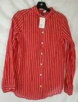 H & M Women's Size 2 Red Long Sleeve Button-up  Shirt New with Tags