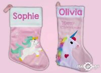 Personalised Glitter Unicorn Printed  Luxury  Xmas Kids Stocking Christmas 2019
