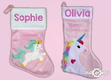 Personalised Glitter Unicorn Printed  Luxury  Xmas Kids Stocking Christmas 2019