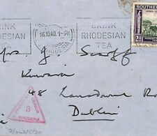 TT157 WW2 Africa Cover 1940 Superb *S.Rhodesia/3/Passed by Censor* Triangular