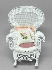Vintage Metal Wicker Chair w Pillows Artisan Dressed Dollhouse Miniature 1:12