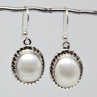 925 Sterling Silver Pearl Gemstone Earrings 5.02 gms Jewelry CCI