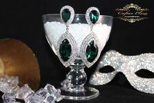 Brautschmuck, Hochzeit Ohrringe,Grosse Ohrhänger, XXXL, Silber / Grün Kristall