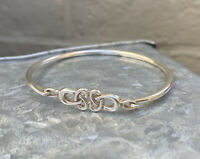 Vintage 925 Sterling Silver Celtic Style Loop Bangle Bracelet