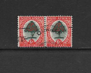 1936 South Africa - KGV 6d Orange Tree - Bilingual Pair - Very Clean Used.