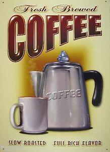 Coffee Fresh And Brewered Tin Sign Mini Metal Card Replica