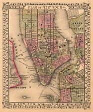 Plan of New York City, 1867 by Ward Maps Vintage Map Art Print Poster 24x20