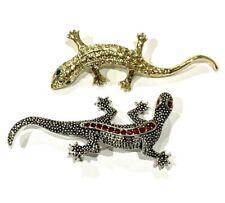"Silver Gold tone 2.5"" long 2-Pc Lizard Animal Brooch Rhinestones"