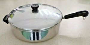 """Revere Ware 12"""" Skillet Deep Frying Pan w/Lid Tri Ply Encapsulated Bottom USA"""