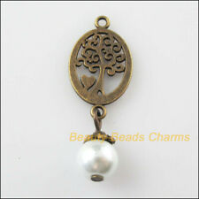8Pcs Antiqued Bronze Tone Oval Tree White Glass Beads Charms Pendants 13x35mm