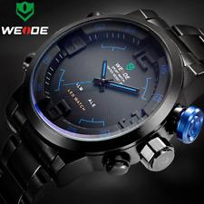 WEIDE Men's Tactical Quartz Analog LED Steel Watch