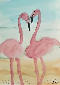 ACEO  art Print birds pink flamingos by Lynne Kohler