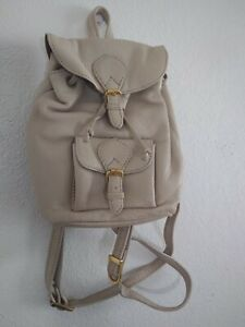 UNBRANDED Women's Beige Leather Mini Buckle & Drawstring Back Pack