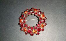 Kramer of New York Red Orange Rhinestone Brooch Pin