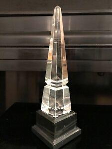 "Baccarat ""Louxor"" Crystal Obelisk with Custom Black Marble Base"