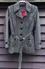 Next Black/White Check Cotton Short Coat, Tie Belt Contrast Red Lining UK14 EU42