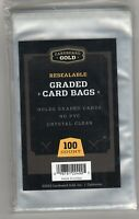 Graded Card Poly Bags 100 Sleeves Cardboard Gold Keep PSA BGS cards scratch free