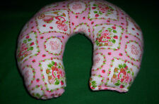 Handcrafted girls pink Strawberry Shortcake child  flannel neck pillow