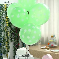 """25 Apple Green with White 12"""" Latex Balloons with Polka Dots Wedding Decorations"""
