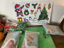 Christmas Foil Mylar 54 & Green & White Polka Dot Balloons & Stickers & Bags LOT