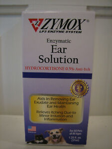 Zymox Ear Solution Hydrocortisone 0.5% Inflammation Relief 1.25 oz Cats Dogs