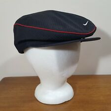 69513812128 Nike Newsboy Cabbie Golf Style Hat Black Mesh Fitted Cap Snap Front Swoosh  22.5