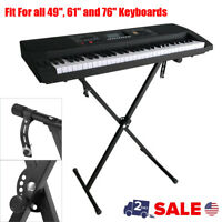 Adjustable Music Keyboard Electric Piano X-Stand Iron Dual Tube Standard Rack US