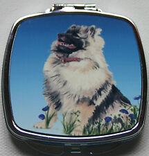 KEESHOND DOG LADIES COMPACT MIRROR DESIGN SANDRA COEN ARTIST WATERCOLOUR PRINT