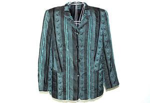 ABEND BLAZER Business Jacke Damen 44 Glanz elegant bleu petrol Streifen TOP  #43