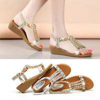 Women's Ladies Summer Crystal Bling Wedges Bohemia Beach Shoes Roman Sandals