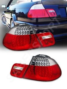 Set of Red Clear LED Taillights 4pcs for 2000-2003 BMW E46 3-Series Convertible