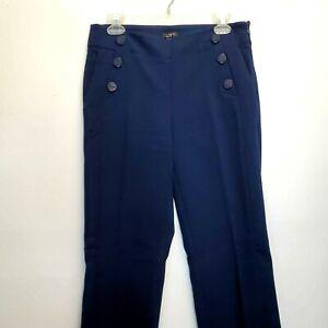 ANN TAYLOR LOFT SAILOR HIGH WAIST WIDE LEG TROUSER PANTS NAVY BLUE WOMENS Sz 4