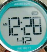 Armitron Digital Pro Sport WR 165ft Teal Silicone Band New Battery Woman Watch