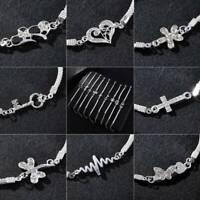 Fashion Crystal Animal 925 Silver Bracelet Bangle Chain Jewelry Friendship Gifts