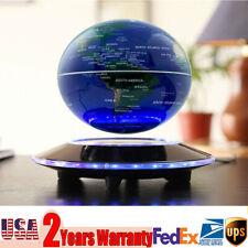 "Blue LED Decor Light Floating Globe 6""Magnetic Levitation Anti Gravity World Map"