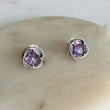 David Yurman Silver Stud Infinity Earrings with Amethyst 7x7 NEW Authentic