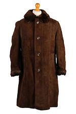 Sheepskin Coat Suede Leather Bomber Flying Jacket Aviator Fur Lined Size XL-C409
