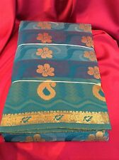 Bridal Kanchipuram Indian Silk Cotton Blend Saree Bollywood Diwali Aqua Sari #50
