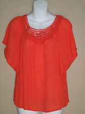 Unique Spectrum Petite Medium Crochet Neck Peasant Top Bright Orange Batwing NWT