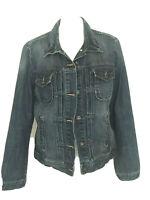 GAP Women's Denim Jacket Cotton Button Up Medium Dark Wash Jean Blue Sz Large