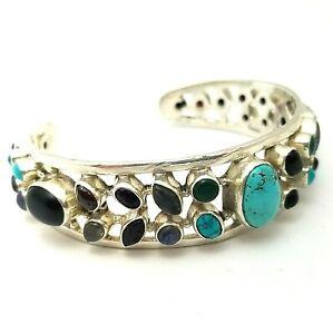 Stunning Sterling Silver Multi-Gem Amethyst Turquoise Onyx Moonstone Bangle