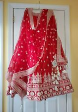 Red and White Lehenga Choli Un-Stitched Beautiful Traditional Indian Ethnic Wear