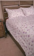 Queen Duvet Cover Set Shabby Chic Lavender Purple Roses Cotton